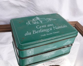 Green Shabby Chic Tin, Rustic Vintage French, Green Rustic Tin, Cookie tin, Biscuit Container, Green Country Kitchen, French language