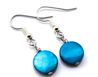 Mediterranean Blue Mother of Pearl Rounds . Earrings