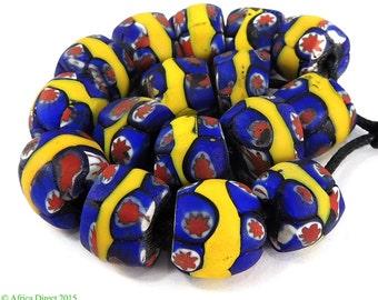 16 Millefiori Venetian Trade Beads Yellow Blue Star African 97047