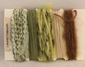Specialty yarn art fiber embellishment bundle, Moss on a tree
