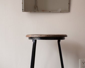 Industrial stool with nice wooden seat