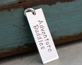 Two words - Sterling Silver Hand Stamped Vertical Rectangle Tag - Personalized Charm