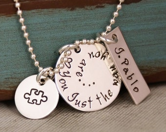 Autism Awareness Necklace / Hand Stamped Mommy Necklace / Personalized Jewelry / Sterling Silver Jewelry / Love you just the way you are