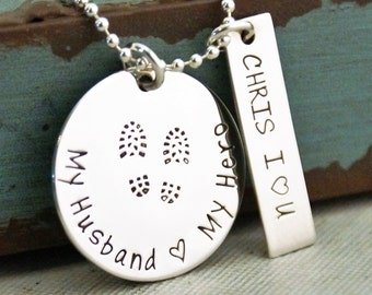 Military wife Necklace / Hand Stamped Jewelry / Sterling Silver Personalized Custom Necklace / My Husband, My Hero