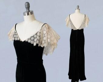 1930s Dress / 30s Liquid Silk Velvet Black Evening Gown / Lace Portrait Collar / LOW V BACK!