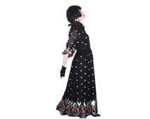 Vintage Black Ball Gown - 70s Elegant Long Sleeve Evening Gown - Black Formal