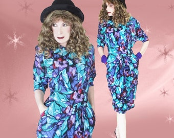 80s Rayon Dress - Vintage Dolman Sleeves Dress with Pockets - Iconic 1980s Power Shoulders