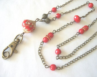 red lanyard, red ID badge holder, ID chain, beaded lanyard, Winter to Spring 2017 fashions trends, office fashion, Great gift idea