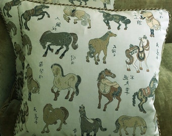 Nancy Corzine Brocade Fabric Custom Designer Throw Pillows Chinoise Horses Beige Pair New