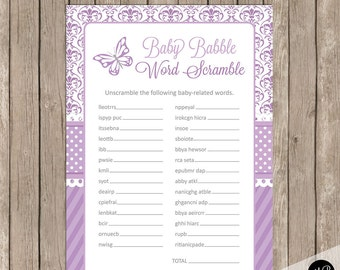 Baby Babble Word Scramble Shower Game, butterfly baby shower game, baby shower game, purple and grey baby shower activity, word game DB01