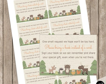 Forest Friends Woodland Baby Shower Book Request Insert Card, Forest Animals Baby Shower, bear, deer, Books for Baby Insert INSTANT  wl3