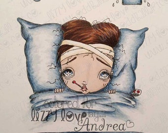 INSTANT DOWNLOAD Digi Stamp Digital Big Eye Get Well Soon Girl ~ Sally So Sickly Image No.111 by Lizzy Love