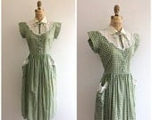 SALE 1940s Green Gingham Summer Dress 40s Sundress