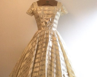 SALE 1950s Satin Lace Wedding Dress 50s Ribbon Wedding Gown