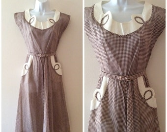 1940s Gay Gibson Gingham Summer Dress 40s Sundress