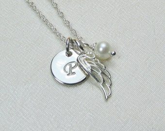 Initial Necklace Silver Angel Wing Necklace Personalized Mothers Necklace Birthstone Monogram Necklace Memorial Remembrance Jewelry Gift