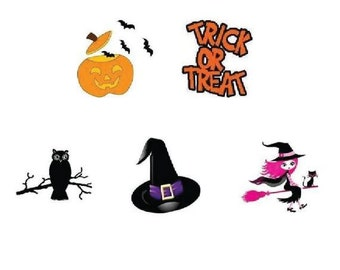 Waterslide Nail Decals Set of 20 - Halloween Pumpkin, Trick or Treat, Pink Witch Assorted #2