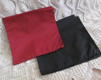 2 Large Black and Red Cotton MENS Hankies Handkerchief