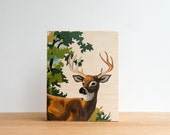 "Paint by Number Style, Stag Art Block, Deer Wall Art, 8"" x 10"", Vintage Art, Woodland Animals, Nature Print"