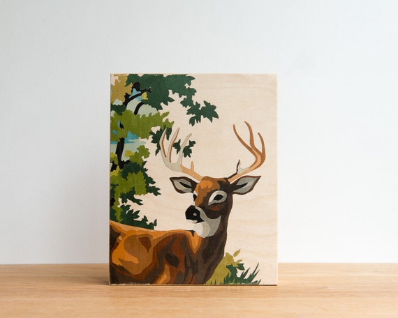 "Paint by Number Deer, 'Young Buck' Art Block, 8"" x 10"", Vintage Art, Woodland Wall Decor"