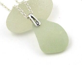 Honeydew Sea Glass Necklace Pendant, Beach Jewelry, Beach Glass Jewelry ELIZABETH