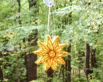 Unique Yellow Sun Decorative Handmade Ornament for your Home or Zen Garden, Great Gift Under 25, OOAK Sugar Art Hanging Sun Window Ornament