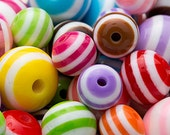 0.50 lbs Clearance Striped Beads 6mm - 12mm Mix