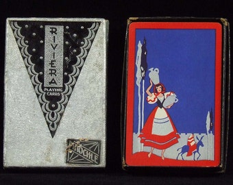 Vintage Retro Riviera Pinochle Original Pack Playing Cards Red White Blue Princess and Knight Graphics 1930 s Paper Ephemera