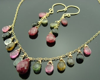 Ruby and Watermelon Tourmaline 14k Gold Filled Gemstone Necklace and Earrings Set