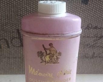 Elizabeth Arden Memoire Cheri Fragrant Powder Tin. Estate Sale Dusting Powder and Tin. Shabby Chic Pink Powder Tin