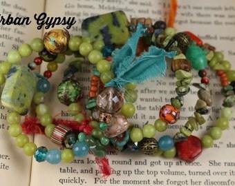 Vintage Bead Bohemian Gypsy VintageTribal  Inspired Festival Bracelet Urban Gypsy Coil Beaded Bracelet
