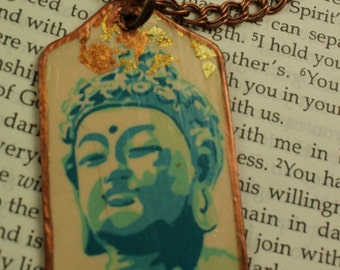 Reversible Image Buddha Tag necklace Pendant Necklace Bohemian Gypsy Necklace Indianapolis Shop Urban Gypsy Handmade Necklace