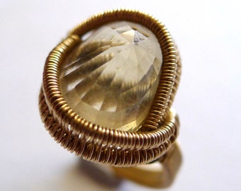 Gold Wire-Wrapped Citrine 'Portal' Ring, Size 8.5