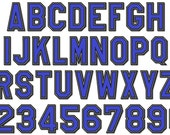 Block Sport High School Team Players thin embroidery applique font - 2, 3, 3, 4, 5 and 6 inches - BX and other embroidery formats