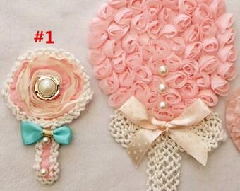 Pink Chiffon Lollipop Applique Patch For Wedding Dress Applique Corsage Shoulder Applique 2 Pcs