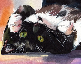 Tuxedo Cat Black and White Digital Art Print of Watercolor Painting of Cat and Flowers Instant Download Wall Decor Artwork Image Picture