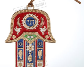 Red Hamsa hand Wall Hanging decor Lucky CHAI Judaica Kabbalah evil eye #MT_WH_10cm_hamsa_gold_chai-Red