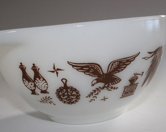 Pyrex, Eagle, Early American, Cinderella, Nesting, Bowl, Brown, White, Turquoise, 441
