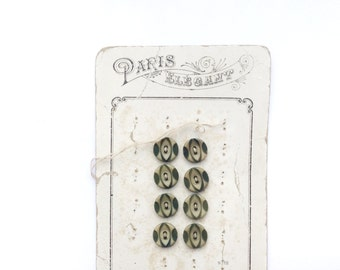 8 Olive Green Buttons, Tiny, Flat, French Vintage Buttons, Card