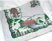 ON SALE Vintage Tablecloth Kitchen Cotton Gray Covered Bridges Fishing Country Church 50x46