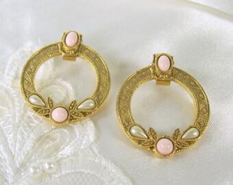 Vintage Earrings Hoops Pink Rose Bead White Faux Pearl Pierced Post Gold Tone 1928 Jewelry Co Plus Bonus Pair