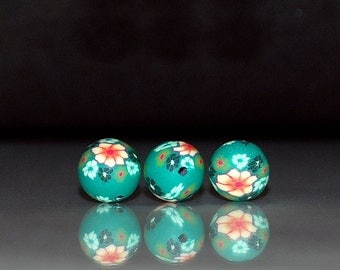 12 pcs 10mm Green with Mixed Color Flower Design Polymer Clay Round Beads