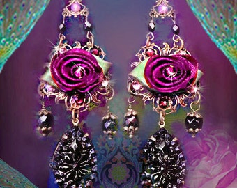 Garnet Red Satin Ribbon Rose Chandelier Earrings, Swarovski Rhinestone Gothic Victorian Jewelry, Vintage Black Glass Jewelry, Clip-On Option