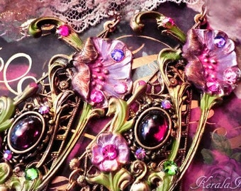 Extra Long Art Nouveau Garnet Floral Fantasy Chandelier Earrings, Exotic Morning Glory Earrings, Ornate Hand-Painted Jewelry, Clip-On Option