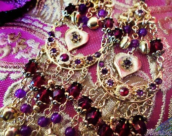 """Red & Purple Indian Bollywood Chandelier Earrings, 5"""" Bright Gold Heart Chakra, Jingle Bell Gypsy Belly Dancer Jewelry, Clip-On Option"""