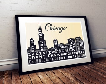 Typography Art, Chicago Skyline, Poster Print, Modern Art, Wall Decor, Retro Poster, Rustic Decor, Holiday Gift, Living Room Decor, Home