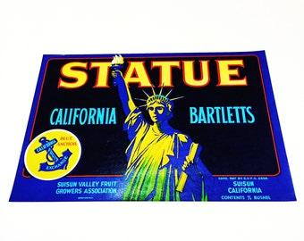 Vintage New Old Stock Unused STATUE California Bartlett Pears Fruit Crate Label