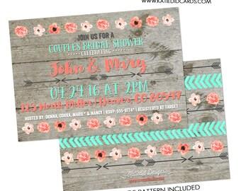 BOHO bridal shower invitation wedding enegagement couples hen arrows floral BOBO wood mint green coral birthday 359 rustic chic invitations