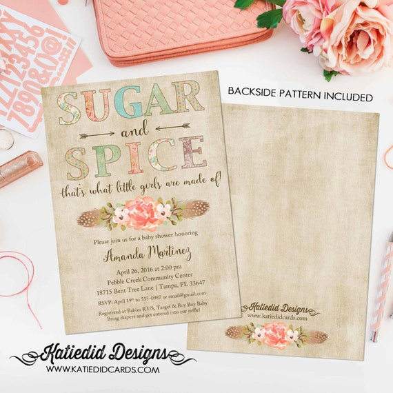 Sugar and spice invitations baby shower tribal BOHO sprinkle couples diaper twin birthday arrows wood item 1311 shabby chic invitation