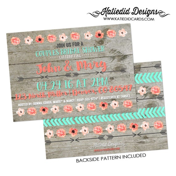 Couples Bridal Invitation I do BBQ engagement party floral chic invite tribal arrows boho tribal bridal shower mint coral 359 katiedid Cards